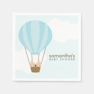 Twin Boys in Blue Hot Air Balloon Baby Shower Paper Napkins
