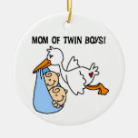 Twin Boys Mum Stork Gifts Ornament