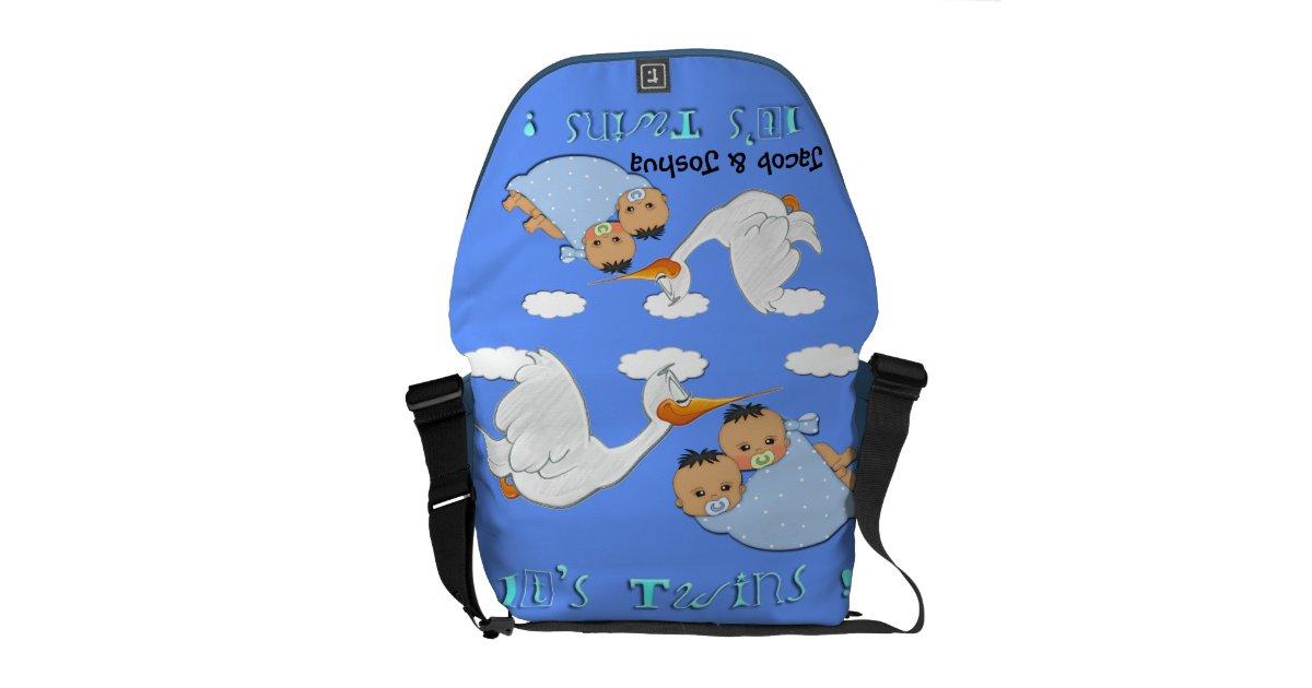 twin boys stork baby diaper bag messenger bags zazzle. Black Bedroom Furniture Sets. Home Design Ideas