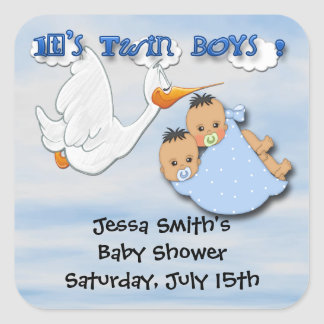 Twin Boys - Stork Baby Shower Favor stickers