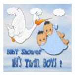 Twin Boys - Stork Baby Shower Invitations