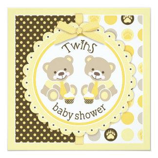 Twin Boys Teddy Bears Ties Baby Shower 13 Cm X 13 Cm Square Invitation Card
