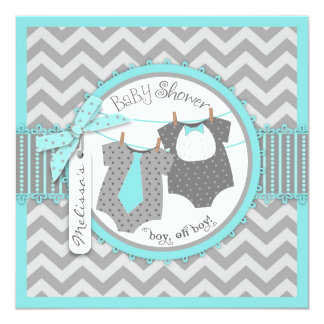Twin Boys Tie Bow Tie Chevron Print Baby Shower Card