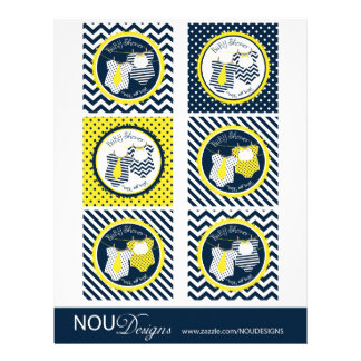 Twin Boys Tie Bow Tie Mix Print Cupcake Toppers Flyer