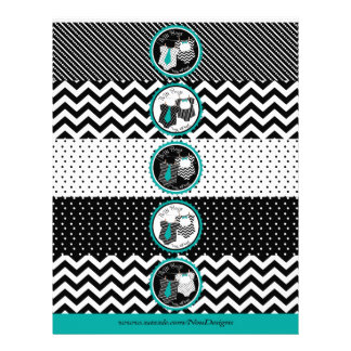 Twin Boys Tie Bow Tie Mix Print Water Bottle Label Full Color Flyer