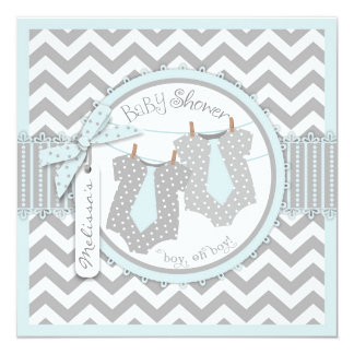 Twin Boys Ties Chevron Print Baby Shower 13 Cm X 13 Cm Square Invitation Card