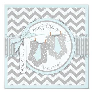 Twin Boys Ties Chevron Print Baby Shower Card