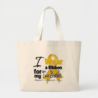 Twin Brother - Appendix Cancer Ribbon Jumbo Tote Bag