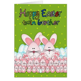 Twin Brother Easter Card With Easter Bunnies