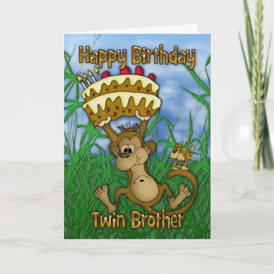 Twin Brother Happy Birthday With Monkey Holding Ca Card