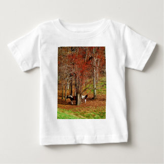 Twin Brown and White Horses Baby T-Shirt