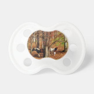Twin Brown and White Horses Baby Pacifier