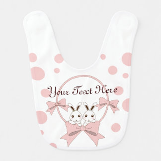 Twin Bunnies with Pink Ribbons Personalized Girl Bibs