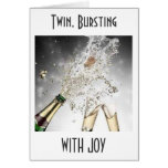 TWIN, BURSTING WITH JOY on YOUR WEDDING DAY Greeting Card