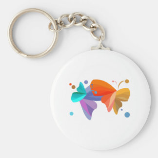 Twin Butterflies Basic Round Button Key Ring