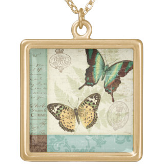 Twin Butterflies Gold Plated Necklace