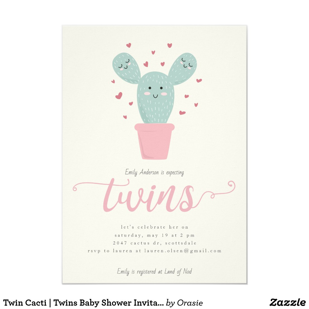Twin Cacti   Twins Baby Shower Invitation