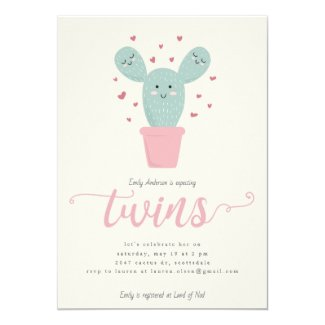 Twin Cacti | Twins Baby Shower Invitation