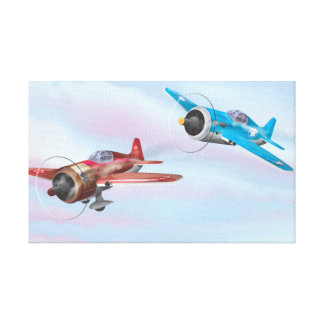Twin cartoon prop aircraft flying canvas print