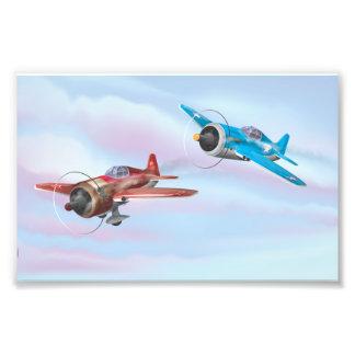 Twin cartoon prop aircraft flying photograph