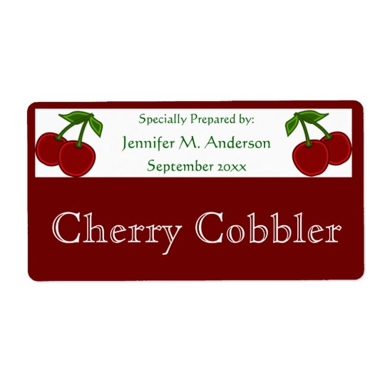 Twin Cherries Framed in Red Homemade Food Shipping Label