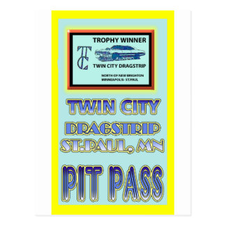 Twin City Dragstrip Pit Pass Postcard