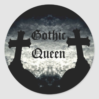 Twin crosses Gothic Queen Classic Round Sticker