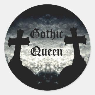 Twin crosses Gothic Queen Round Sticker