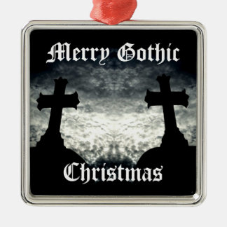 Twin crosses Merry Gothic Christmas Christmas Ornament