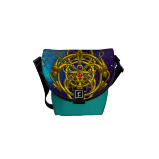 TWIN DRAGONS  IN TEAL BLUE GREEN GOLD SPARKLES MESSENGER BAGS