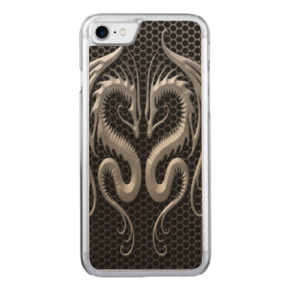 Twin Dragons with Steel Mesh Effect Carved iPhone 8/7 Case