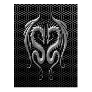 Twin Dragons with Steel Mesh Effect Postcard