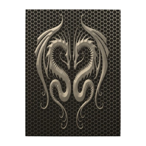 Twin Dragons with Steel Mesh Effect Wood Canvas
