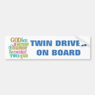 TWIN DRIVER ON BOARD/CUTE GRAFIC BUMPER STICKER
