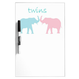 Twin Elephant Pink And Blue Dry-Erase Whiteboard