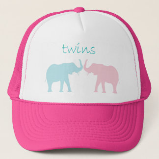 Twin Elephant Pink And Blue Trucker Hat
