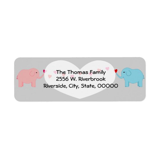 Twin Elephants Boy Girl Return Label