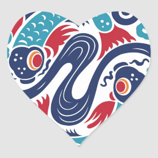 Twin Fish Heart Sticker