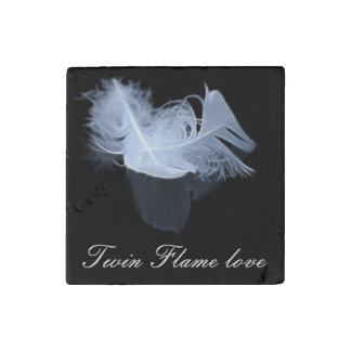 Twin flame feathers and reflection stone magnet