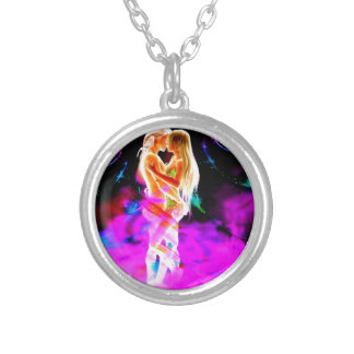 TWIN FLAME psychedelic Silver Plated Necklace
