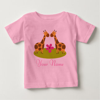Twin Giraffe Personalized Girls Baby T-Shirt