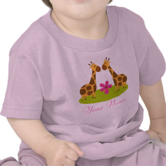 Twin Giraffe Personalized Girls Shirts