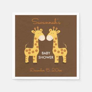 Twin Giraffes Baby Shower Napkin Disposable Serviettes
