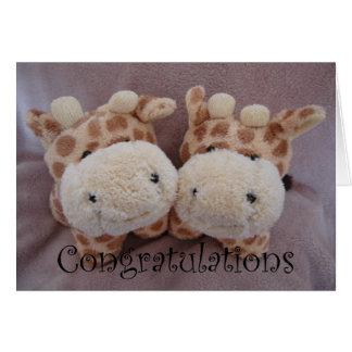 twin giraffes greeting card
