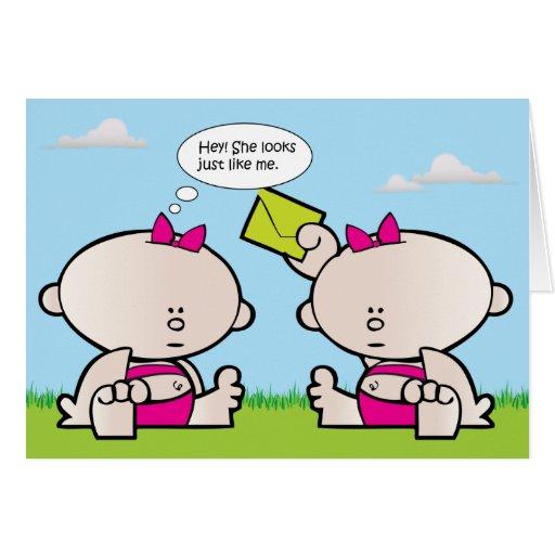 Twin girl babies greeting card