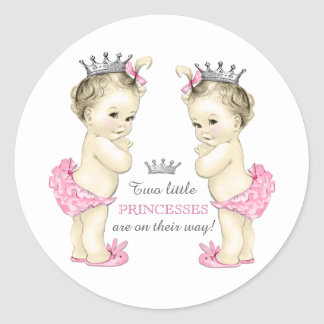 Twin Girl Baby Shower Classic Round Sticker