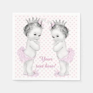 Twin Girl Baby Shower Paper Napkin