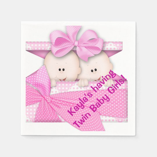 Twin Girl Baby Shower Paper Napkins