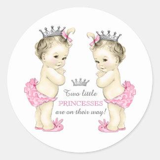 Twin Girl Baby Shower Round Sticker