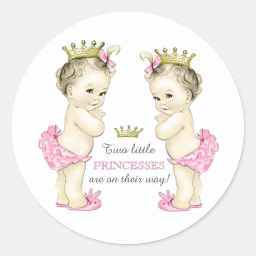 Twin Girl Baby Shower Round Stickers